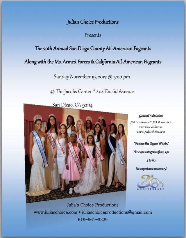 20th Annual San Diego County All-American Pageant @ Jacobs Center | San Diego | California | United States