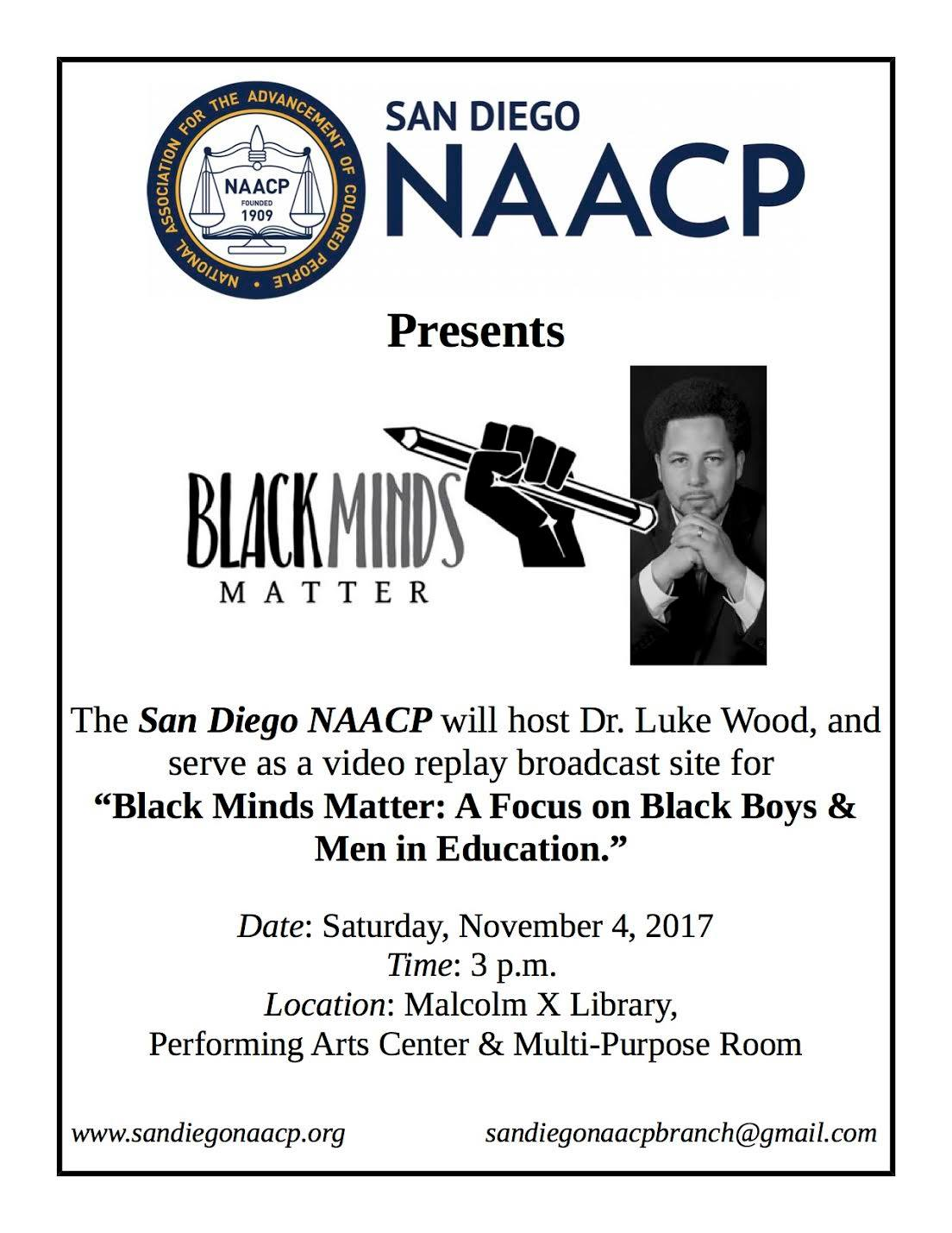 Black Minds Matter: A Focus on Black Boys & Men in Education @ Malcolm X Library (Performing Arts Center) | San Diego | California | United States