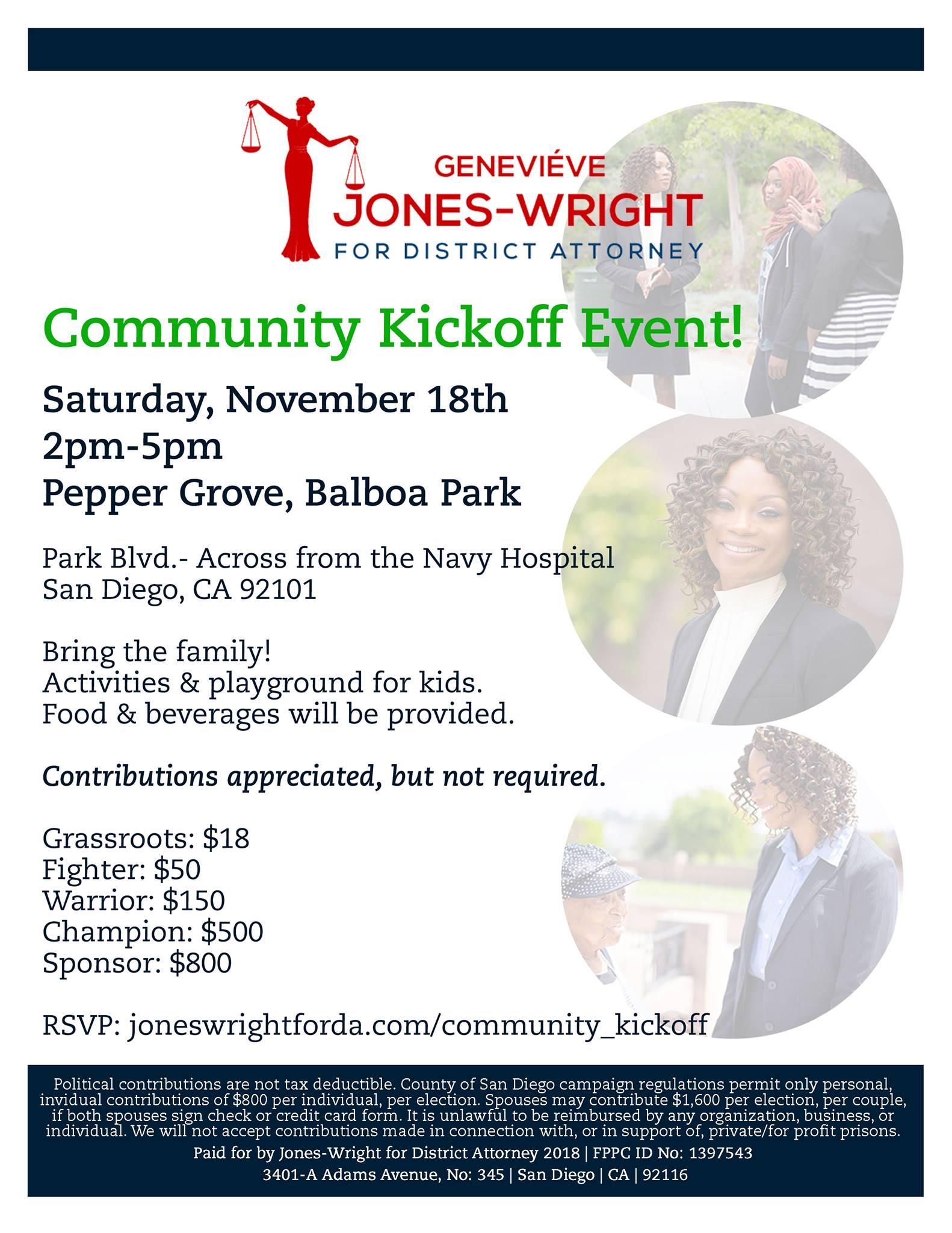 Jones-Wright for DA Community Kickoff @ Balboa Park (Pepper Grove) | San Diego | California | United States