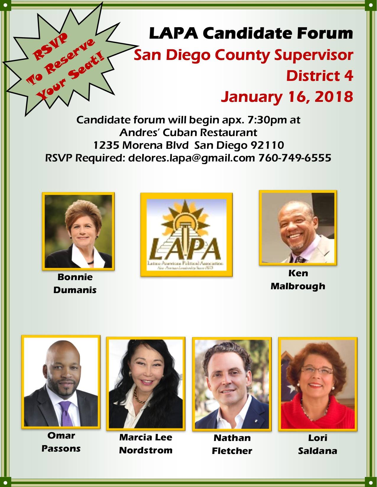 County Supervisor Dist. 4 Candidate Forum @ Andrés Restaurant  | San Diego | California | United States