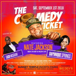 The Comedy Tickets Presents Nate Jackson & Friends @  Sunset Temple