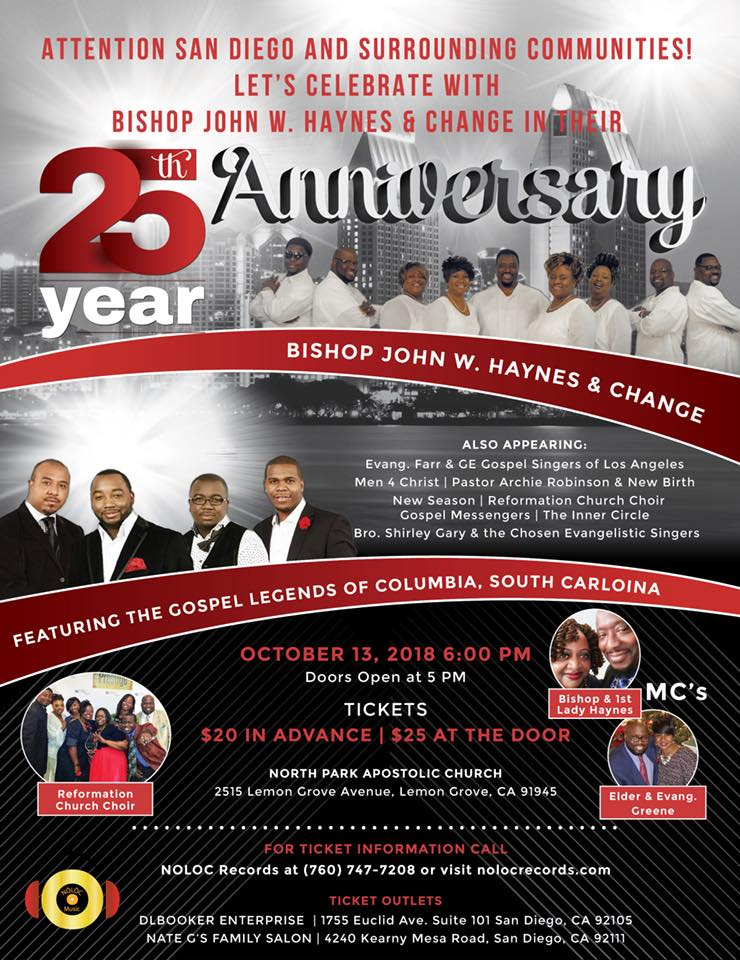 25th year anniversary with Bishop John W. Haynes & Change @ North Park Apostolic Church