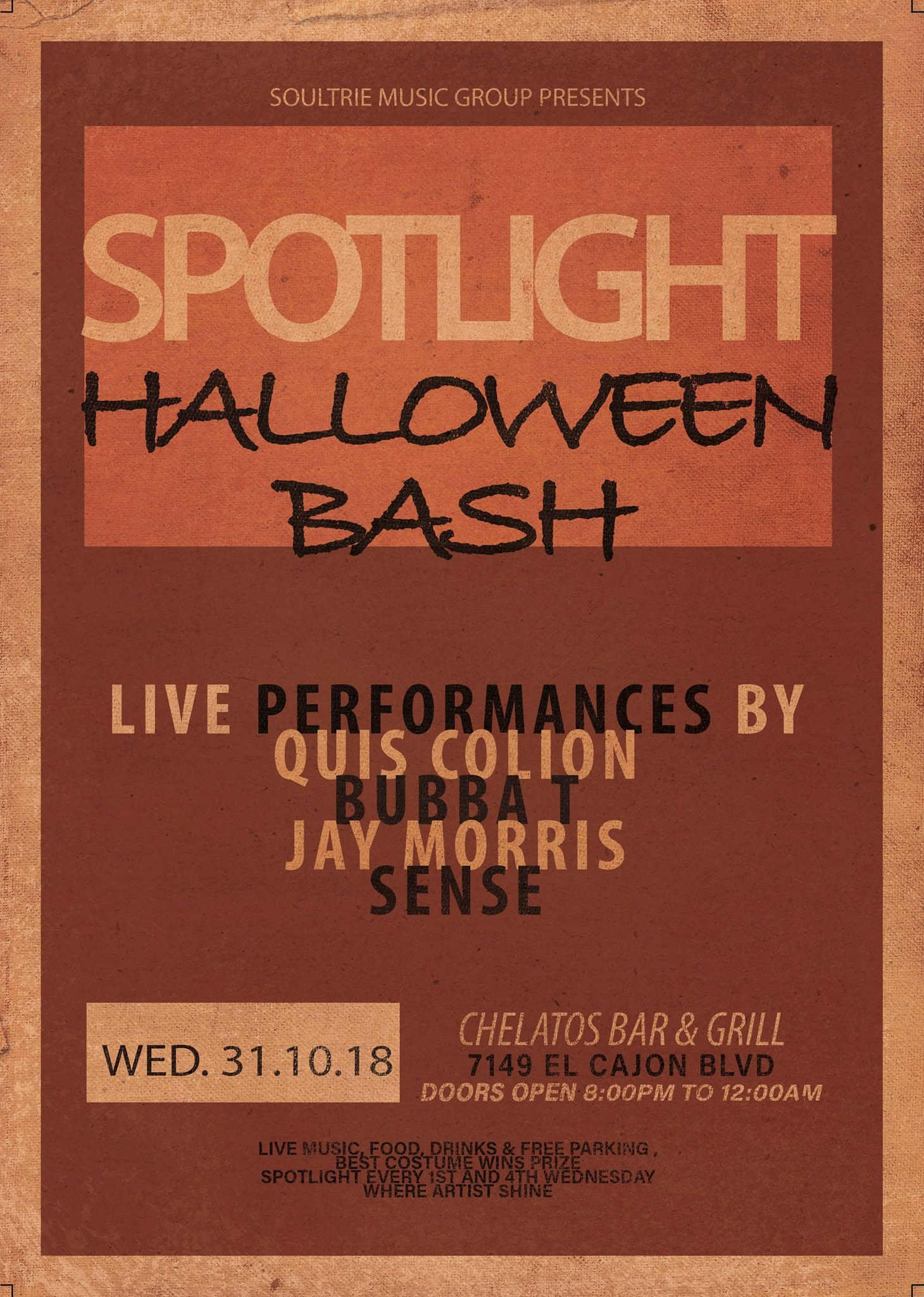 Spotlight (Halloween Open Mic/Cipher Night) @ Chelatos Bar Grill