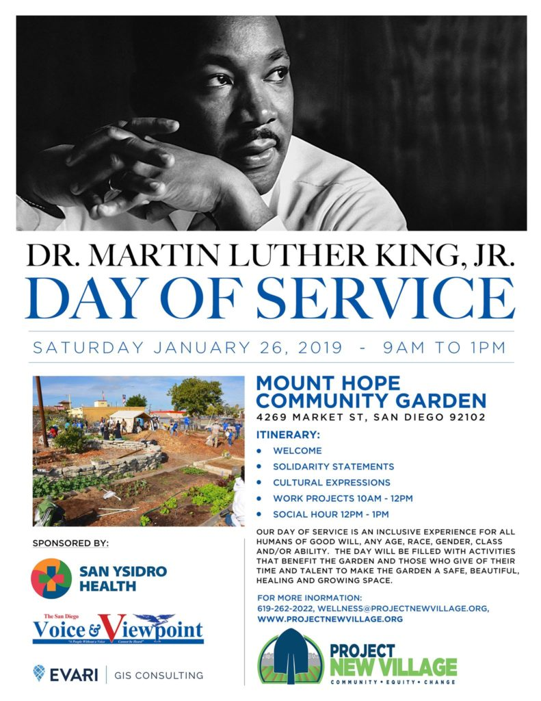 Dr. Martin Luther King, Jr. Day of Service at the Mt. Hope Community Garden @  Mt Hope community garden