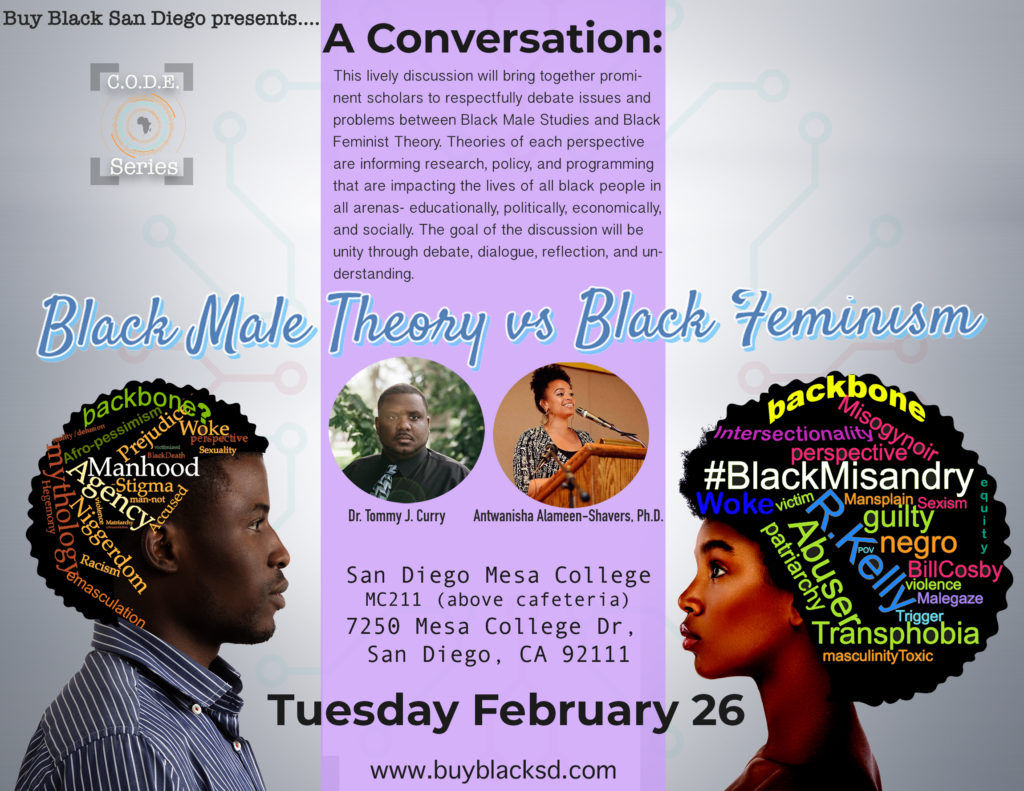 A Conversation: Black Male Studies vs Black Feminism @ San Diego Mesa College (Room MC 211)