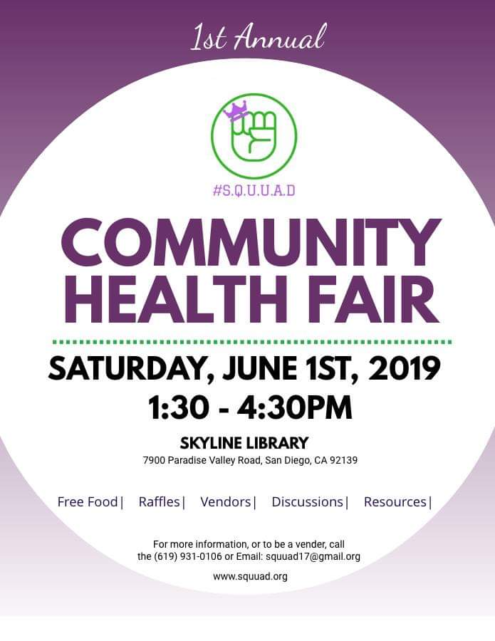 S.Q.U.U.A.D. Community Health Fair @ Skyline Hills Library