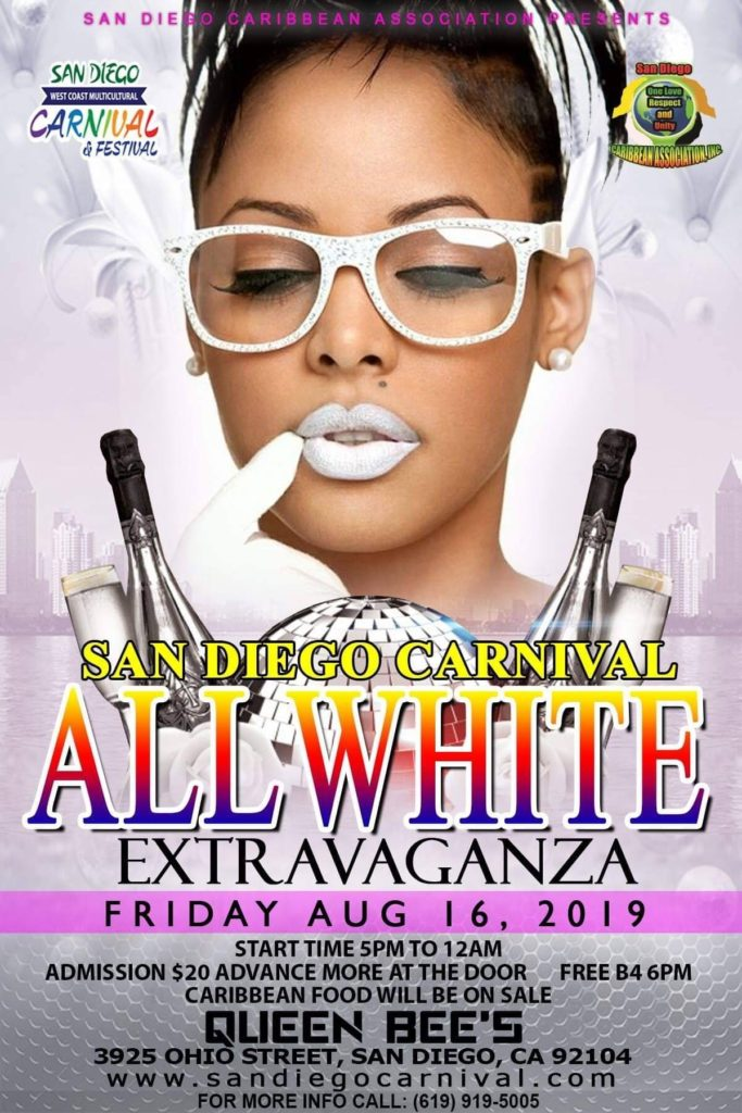 San Diego Carnival - All White Extravaganza @ Queen Bee's Art & Cultural Center