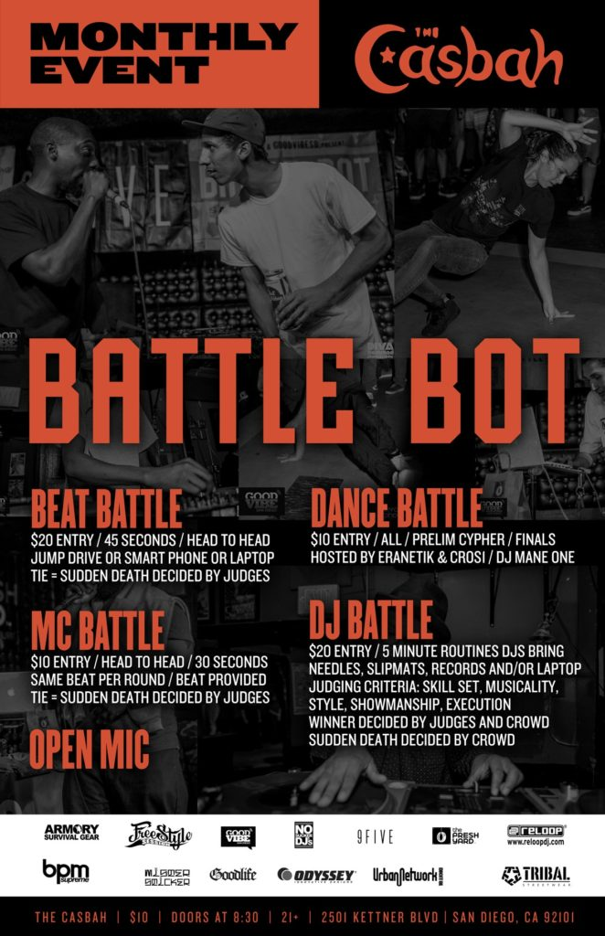 DJ Artistic's Hip Hop Battle Bot at The Casbah - San Diego @  Casbah San Diego