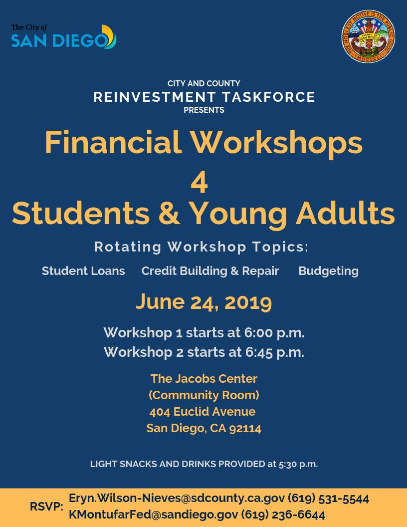 Financial Workshops for Students & Young Adults @ Jacobs Center for Neighborhood Innovation