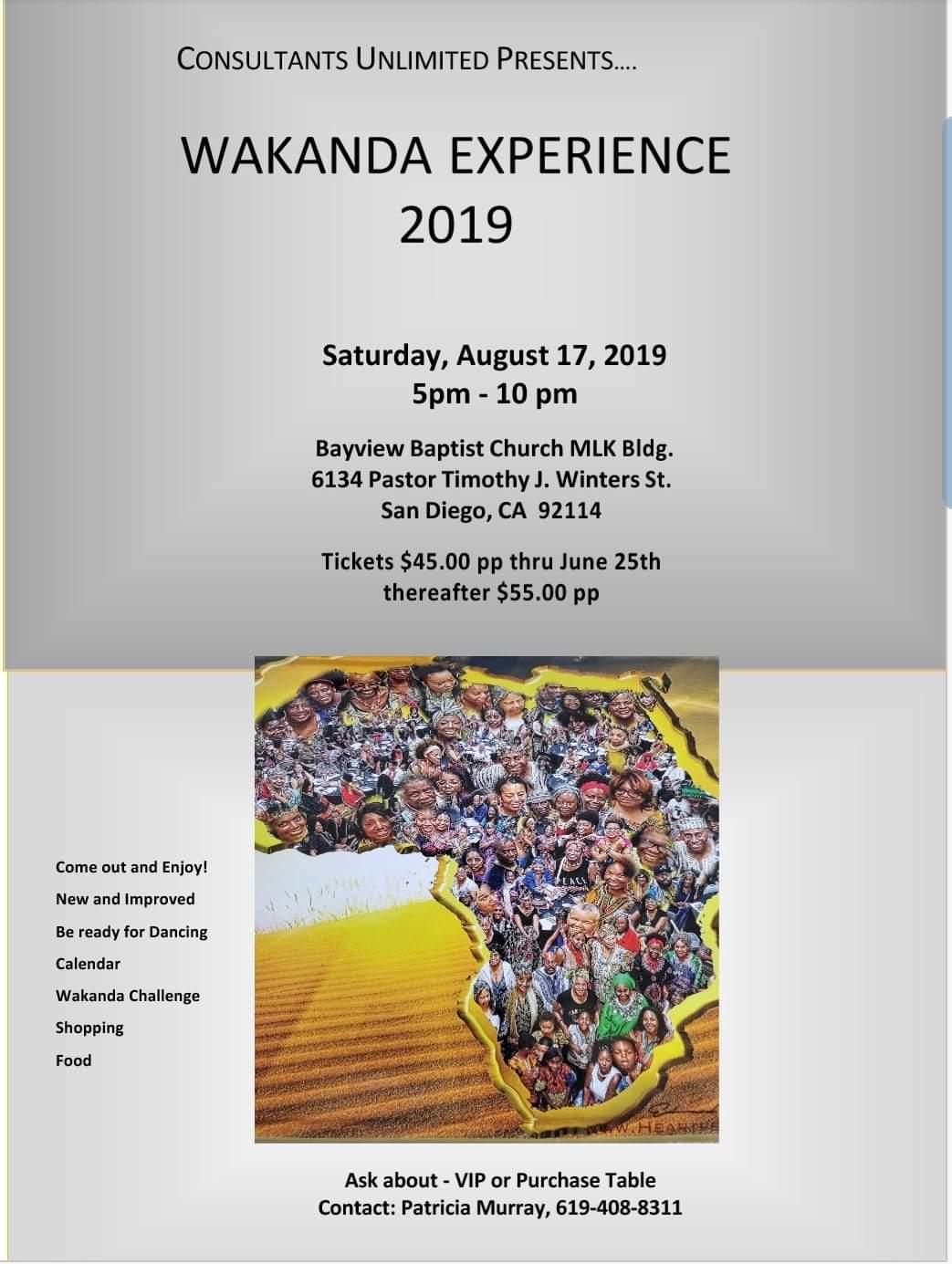 Wakanda Experience 2019 @ 6134 Timothy Winters Drive San Diego, CA 92114.