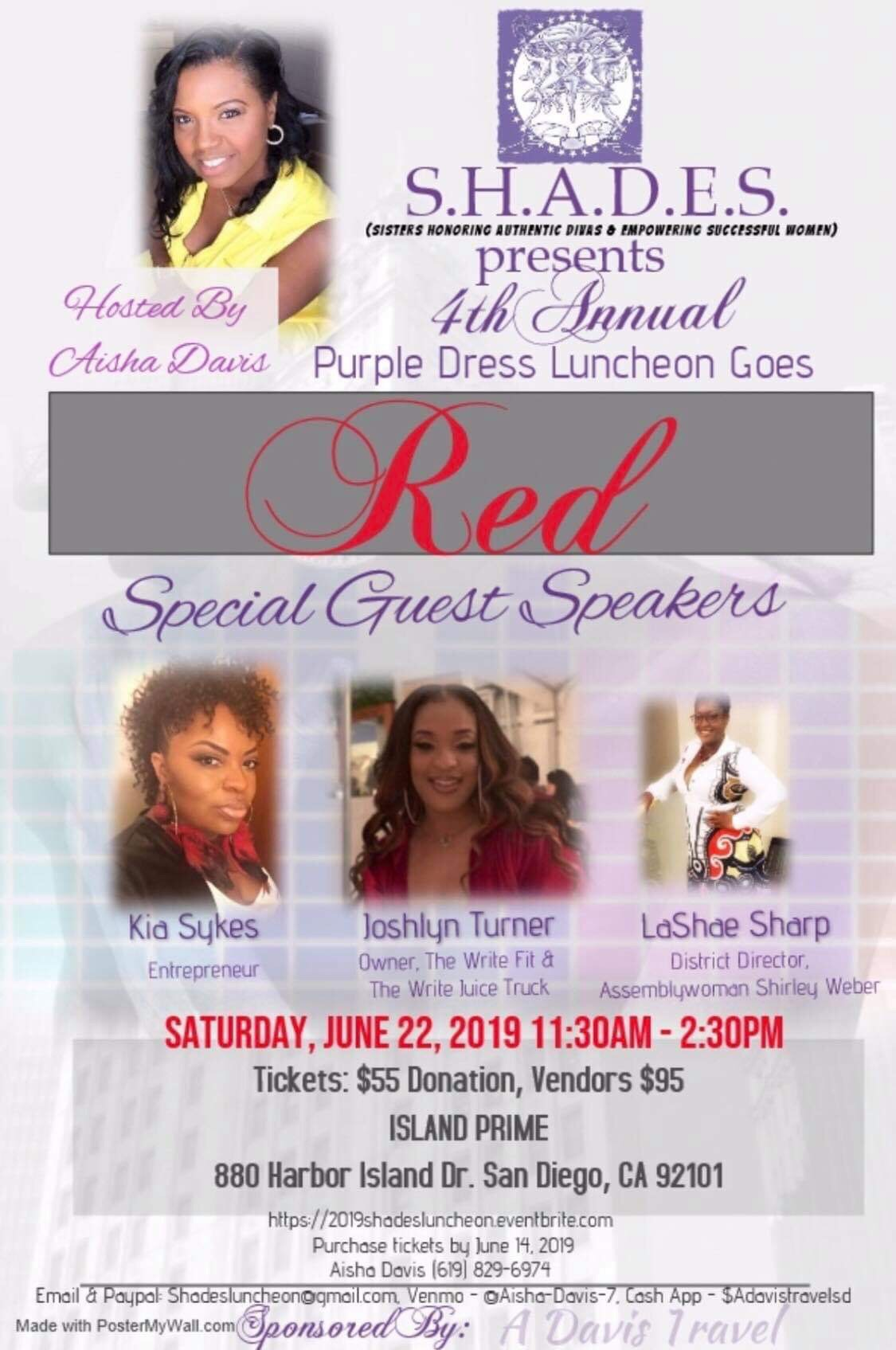 The Purple Dress Luncheon: Goes RED! @ Island Prime
