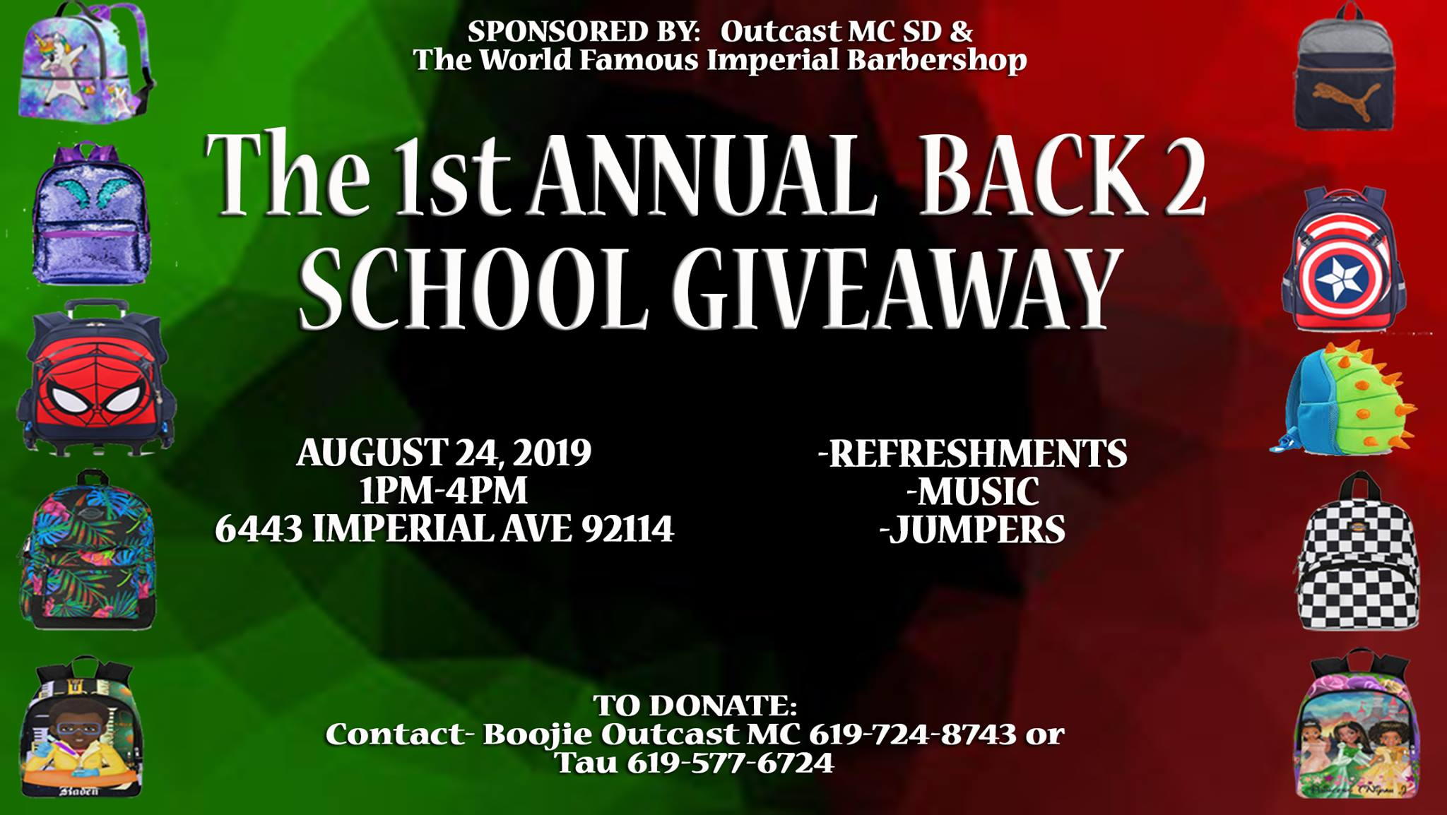 The 1st Annual Back 2 School Giveaway @ The World Famous Imperial Barbershop SD