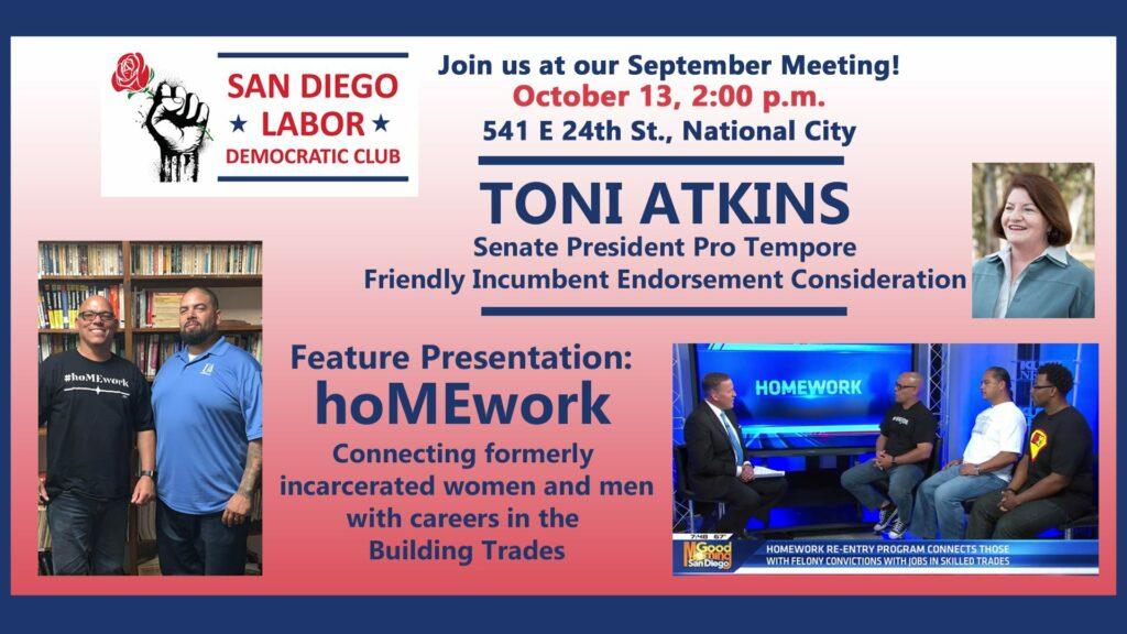 October Meeting with hoMEwork @ San Diego Labor Democratic Club